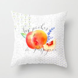 Les Pêches de Perpignan—French Country Peaches from Provence Throw Pillow
