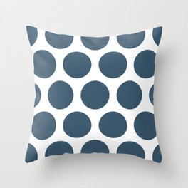 Dusky Blue Large Polka Dots Throw Pillow