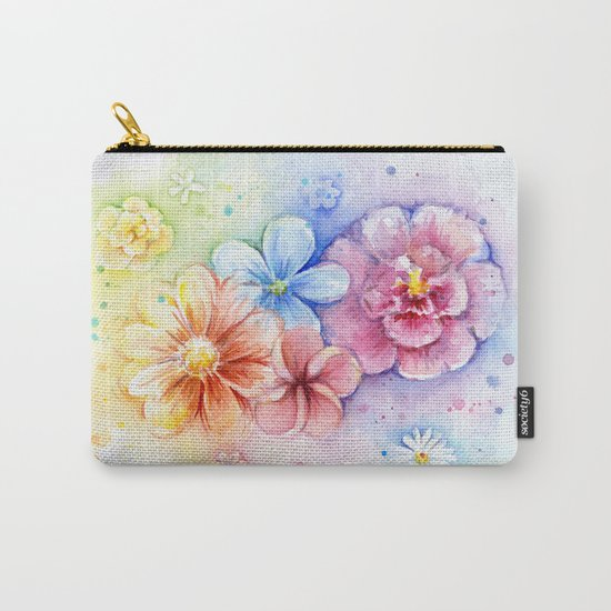 Flowers Watercolor Floral Colorful Rainbow Painting Carry-All Pouch