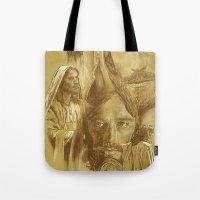 jesus Tote Bags featuring Jesus by Bryan Dechter