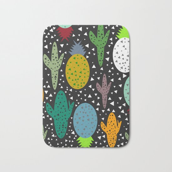 Succulents and pineapples Bath Mat