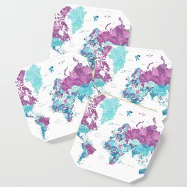 """Purple and turquoise watercolor world map with cities, """"Blair"""" Coaster"""