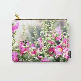 Chuparosa checking out all the Pink Pink Hollyhocks by CheyAnne Sexton Carry-All Pouch