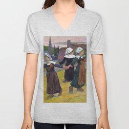 1888 - Gauguin - Breton Girls Dancing, Pont-Aven Unisex V-Neck