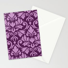 Flourish Damask Art I Pink on Plum Stationery Cards