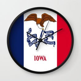 flag of Iowa, america, usa, midwest,Council Bluffs, Iowan,Des Moines,Cedar Rapids,Davenport,sioux Wall Clock