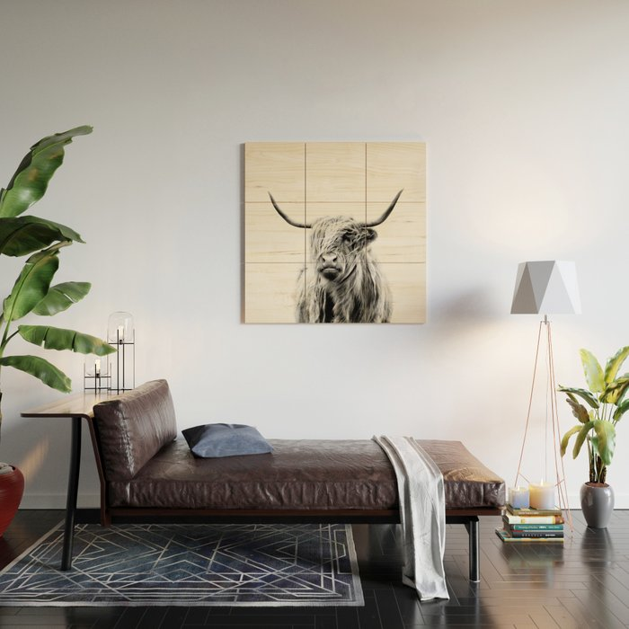 portrait of a highland cow Wood Wall Art