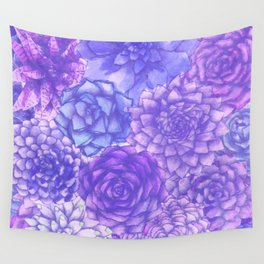 Lavendar Succulents Wall Tapestry