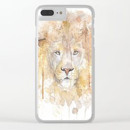 """Watercolor Painting of Picture """"African Lion"""" Clear iPhone Case"""