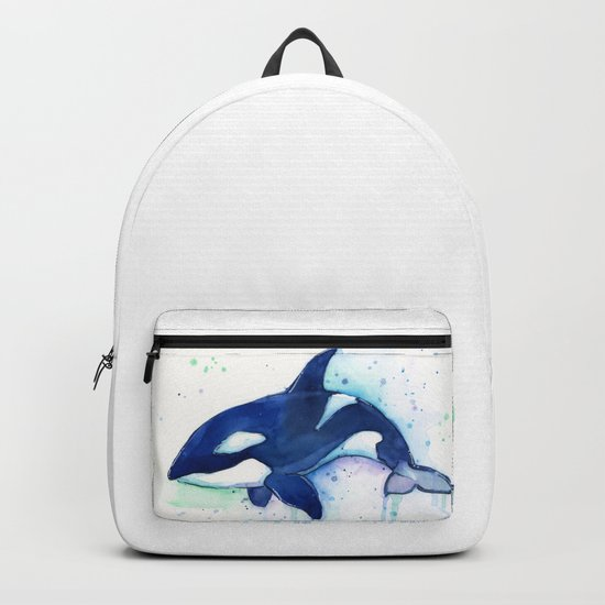 Killer Whale Orca Watercolor Painting Animal Art Backpack