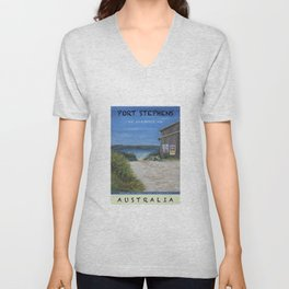 Travel Poster One Mile, NSW Unisex V-Neck