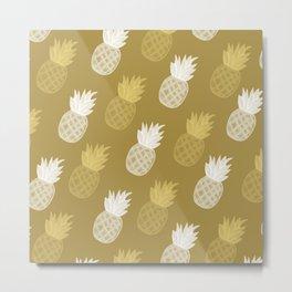 Golden pineapple pattern 2 Metal Print