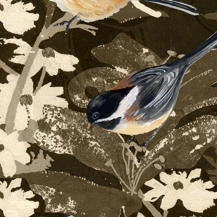 Bird-Chickadees with Lillies Leggings