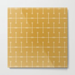 Love Minimal Molecules Line-Art on Mustard Yellow Metal Print
