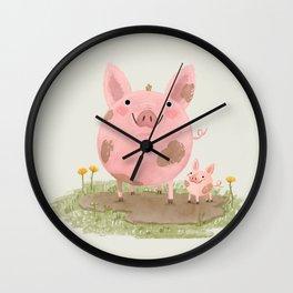 Piggies in a Mud Puddle Wall Clock