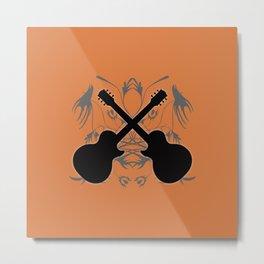 Crossed Guitars & Tribals Metal Print
