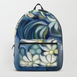 """""""Retro Vintage Bouquet of White and Blue Flowers"""" Backpack"""