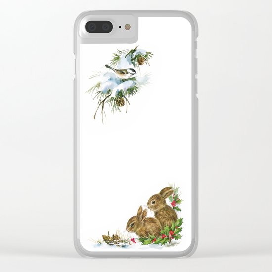 Winter in the forest- Animal Bunny Illustration Clear iPhone Case