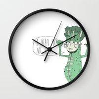 vegetarian Wall Clocks featuring vegetarian. by alan ledford