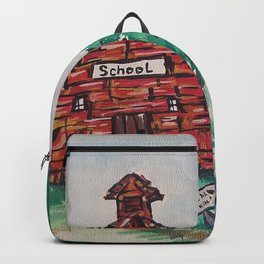 School, Primitive Art Painting by Faye Backpack