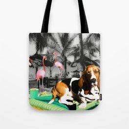 Tropical Basset Tote Bag
