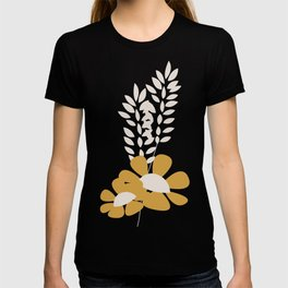 Seamless pattern design with hand drawn flowers and floral elements T-shirt