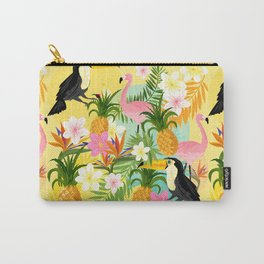 Tropical Toucan & Flamingo Pattern Carry-All Pouch