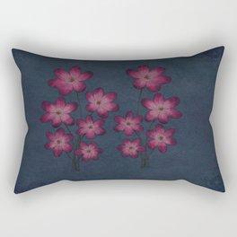 Burgon Wildflower  Lineart Grunge Bohemean Romance  Rectangular Pillow