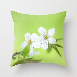 Cherry blossom tree in the green Throw Pillow