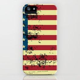 Shredded american flag design iPhone Case