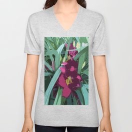 Rare Daylily in ruby red, graphic design Unisex V-Neck