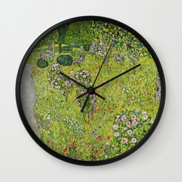 "Gustav Klimt ""Orchard with Roses (Obstgarten mit Rosen)"" Wall Clock"