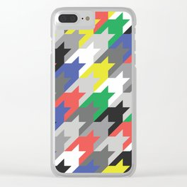 Multicolor houndstooth Clear iPhone Case