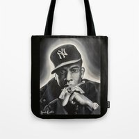 jay z Tote Bags featuring Jay-Z by Sarah Painter