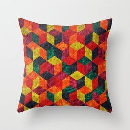 Colorful Isometric Cubes IV Throw Pillow
