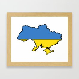 Ukraine Map with Ukrainian Flag Framed Art Print