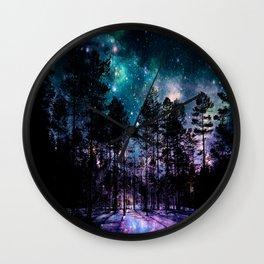 One Magical Night... teal & purple Wall Clock
