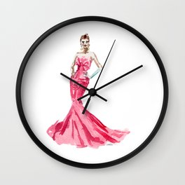Sabrina / Hepburn Fuschia Pink Red | Fashion Gown Dress Wall Clock