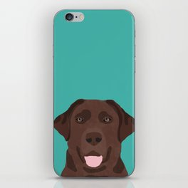 Chocolate Lab peeking dog head labrador retriever must have funny dog breed gifts iPhone Skin