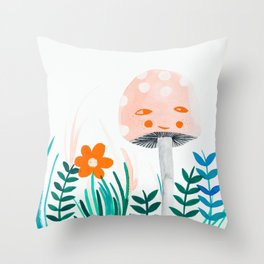 pink mushroom with floral elements Throw Pillow