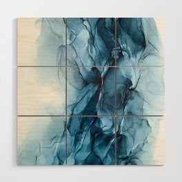 Deep Blue Flowing Water Abstract Painting Wood Wall Art