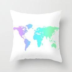 Ocean Gradient World Map Throw Pillow
