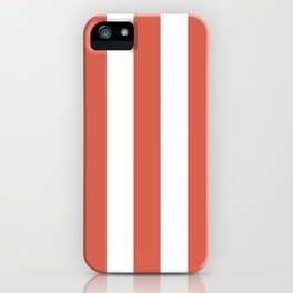 Jelly bean pink - solid color - white vertical lines pattern iPhone Case