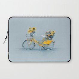 Yellow vintage bike with sunflowers Laptop Sleeve