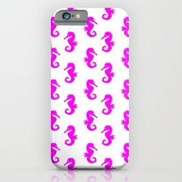 Seahorses (Magenta & White Pattern) iPhone Case
