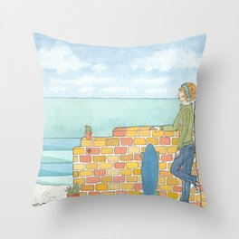 Beach in my Backyard - watercolour print 2 Throw Pillow