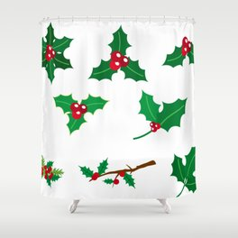 Holly Berries Pattern (Color) Shower Curtain