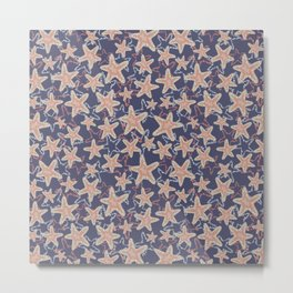 Seastar starfish pattern. Coral brown light blue sea stars on a dark blue background. Layered style. Metal Print