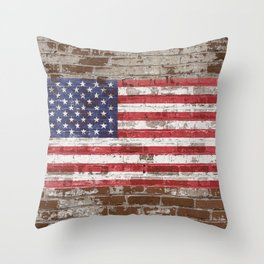 Old Glory on Brick United States Flag American Flag US Standard Throw Pillow