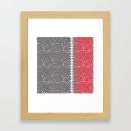 Gray , red background with a decorative vertical stripe. Framed Art Print